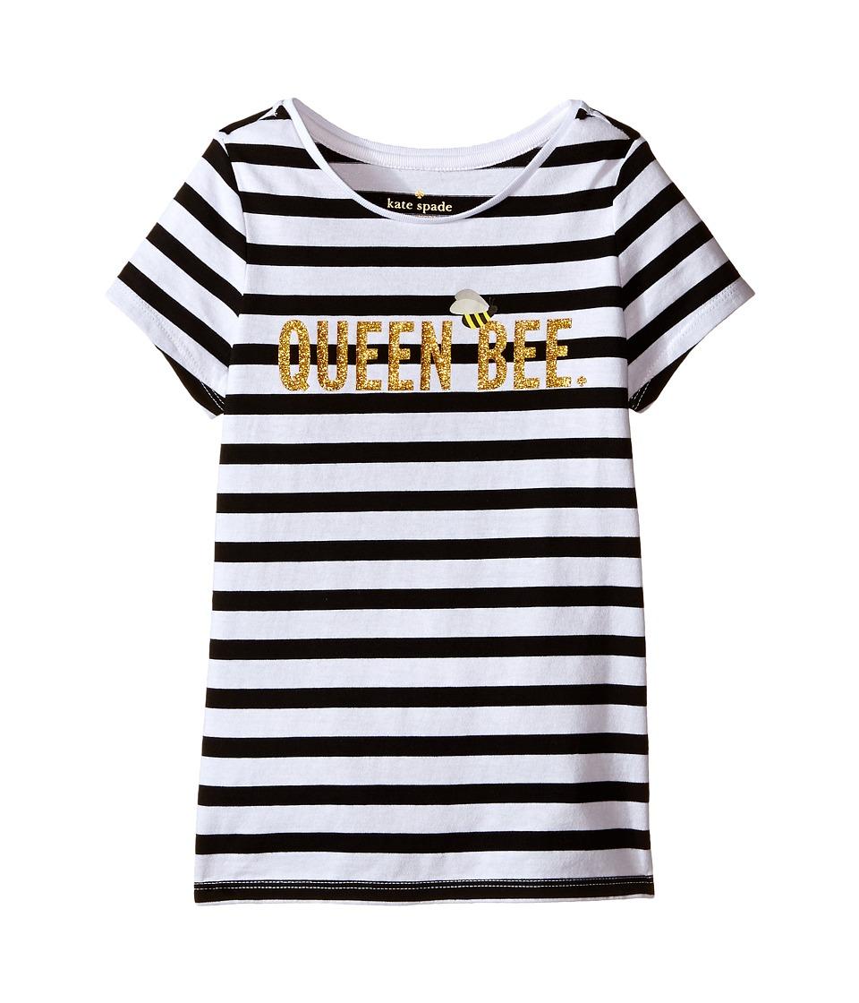 Kate Spade New York Kids Queen Bee Tee Toddler/Little Kids Black/Cream Stripe Girls T Shirt