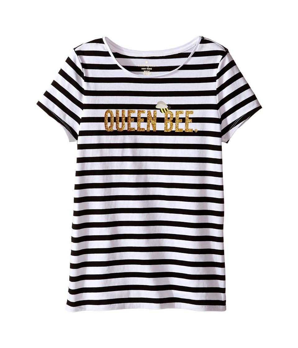 Kate Spade New York Kids Queen Bee Tee Big Kids Black/Cream Stripe Girls T Shirt
