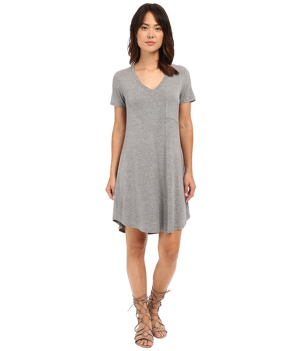 HEATHER V Neck Pocket Tee Dress Heather Grey Womens Dress