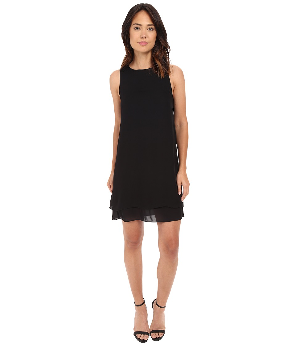 HEATHER Georgette Layered Dress Black Womens Dress