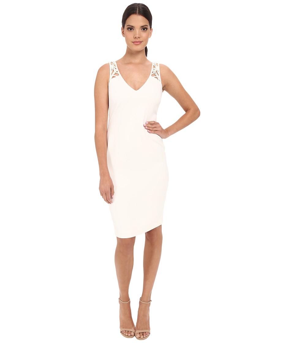 Badgley Mischka Lattice Back Cocktail Ivory Womens Dress