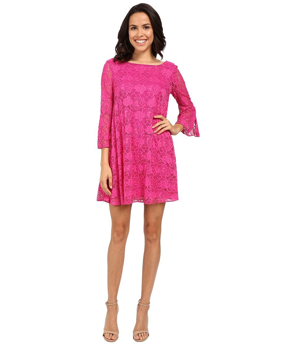 Badgley Mischka Flare Belle Sleeve Dress Fuchsia Womens Dress