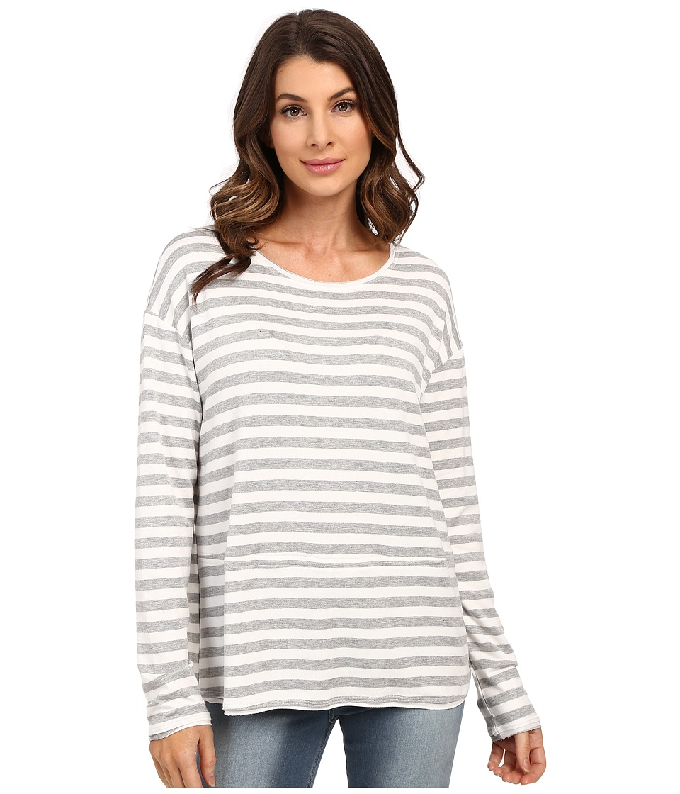 HEATHER French Terry Pullover Heather Grey/White Womens Long Sleeve Pullover
