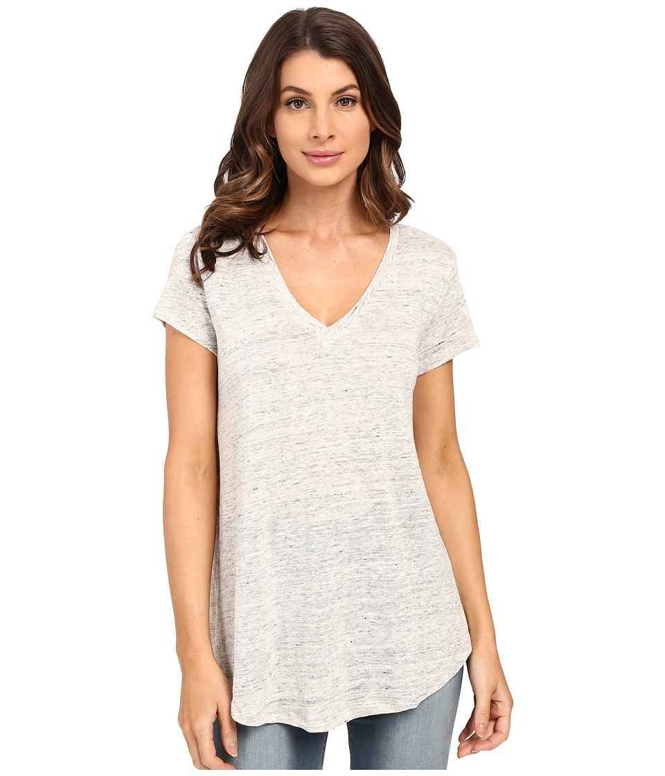 HEATHER Linen V Neck Tee Heather Grey Womens Short Sleeve Pullover