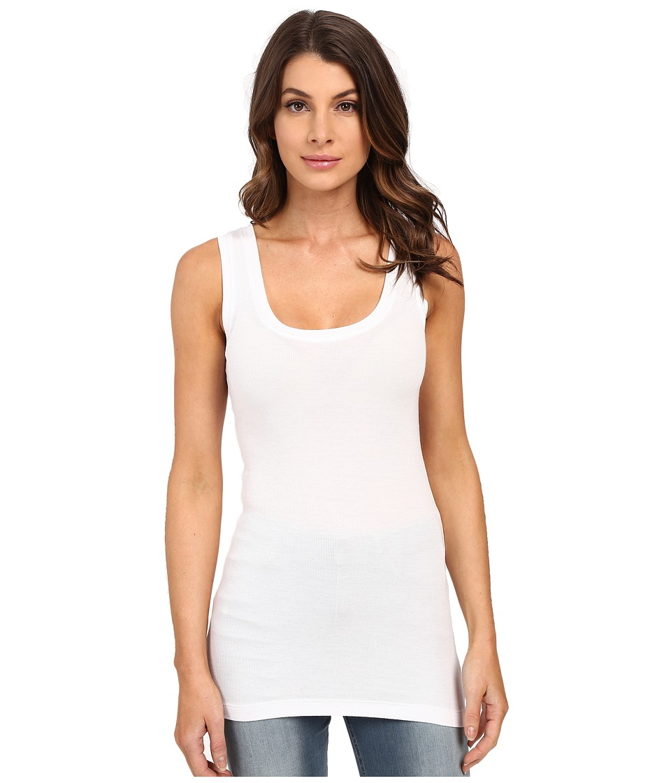 HEATHER Basic Rib Tank Top White Womens Sleeveless