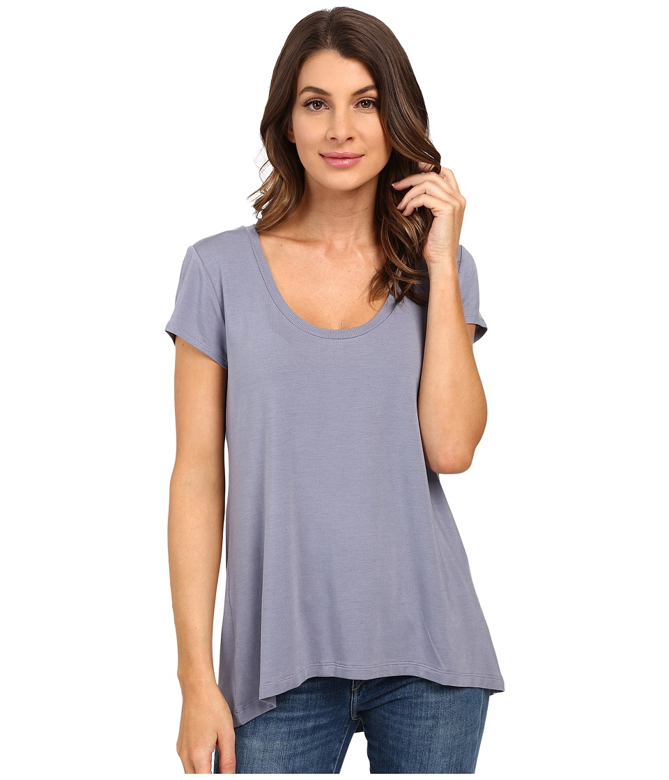 HEATHER Scoop Neck Tee Quarry Womens Short Sleeve Pullover