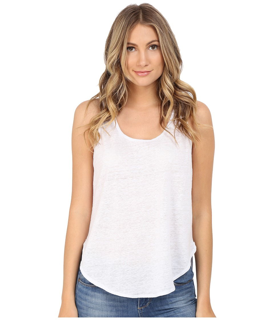 HEATHER Linen Scoop Tank Top White Womens Sleeveless