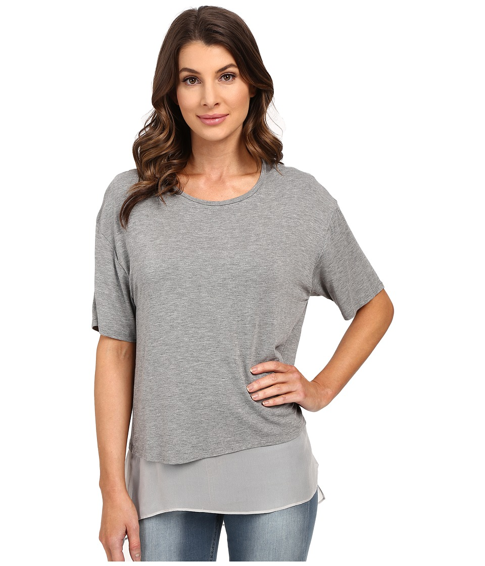 HEATHER Silk Lined Tee Heather Grey Womens Short Sleeve Pullover