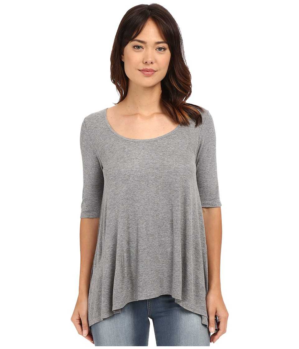 HEATHER 3/4 Sleeve Scoop Neck Heather Grey Womens Clothing