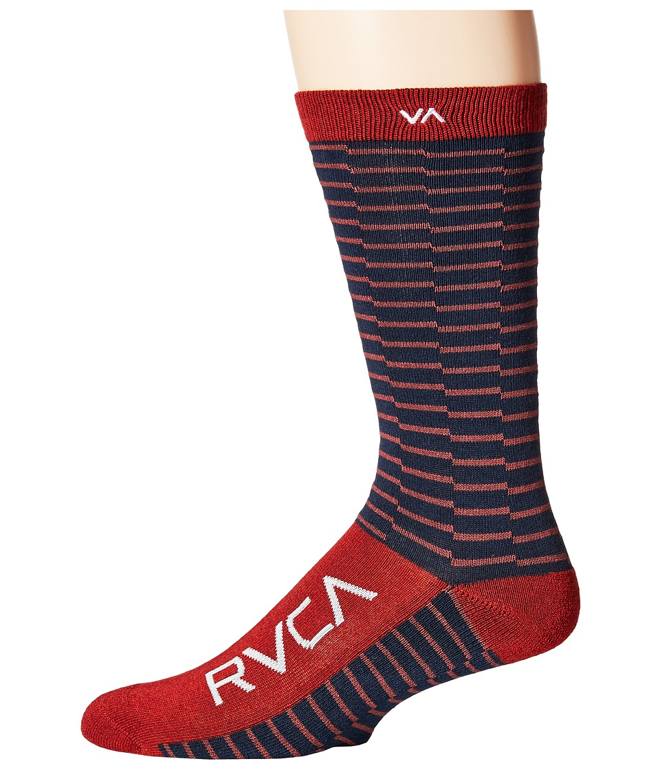 RVCA Makeshift Sock Cinabar Mens Crew Cut Socks Shoes