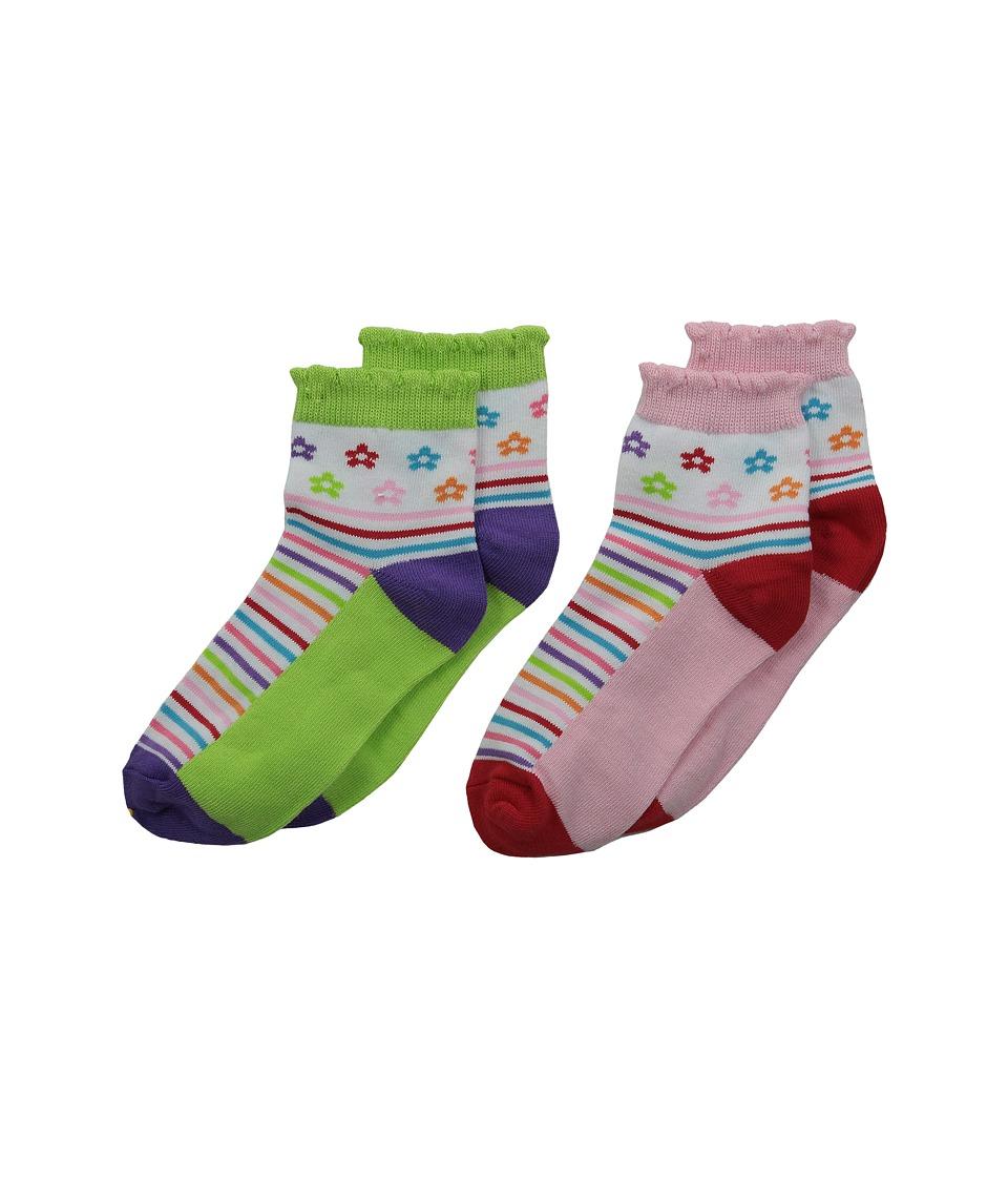 Jefferies Socks Daisy Anklet 2 Pair Pack Infant/Toddler/Little Kid/Big Kid Multi Girls Shoes