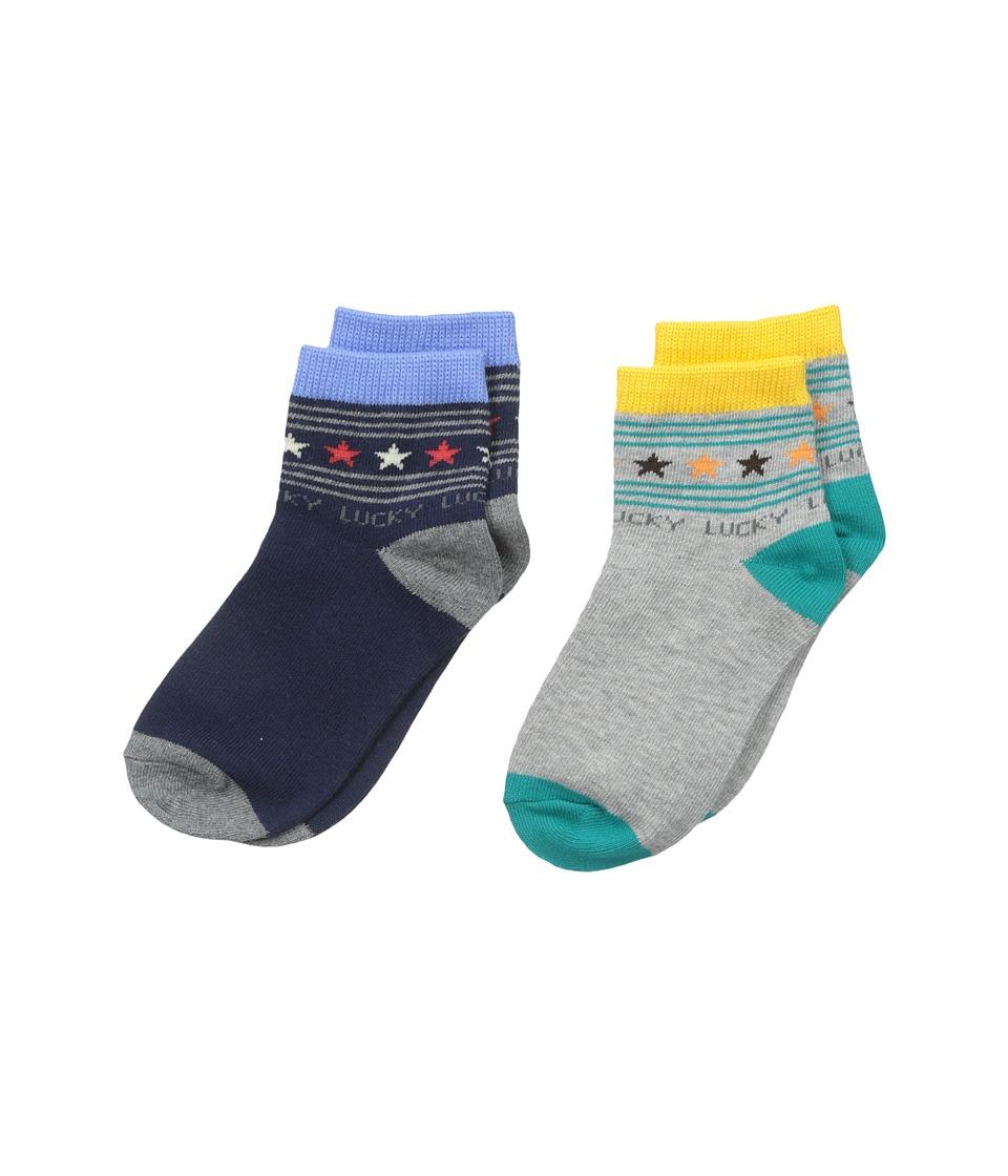 Jefferies Socks Lucky Star Quarter 2 Pack Infant/Toddler/Little Kid Multi Boys Shoes