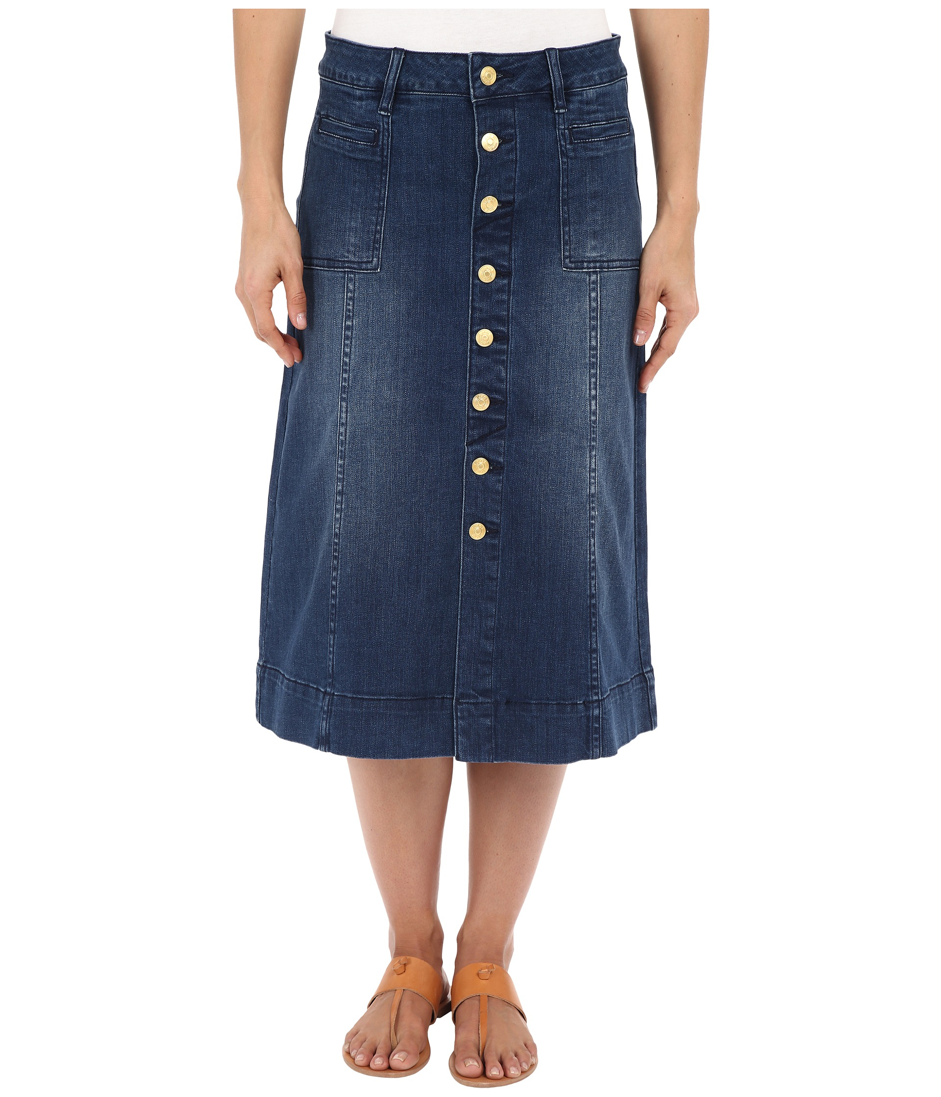 jag barrett button front denim skirt zappos