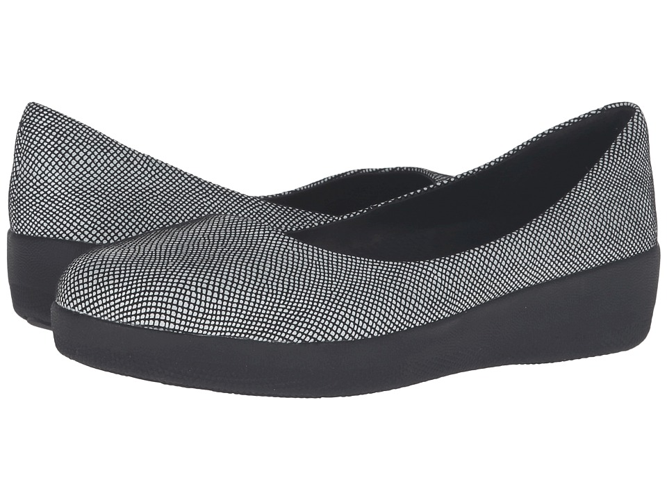FitFlop Suede Superballerina (Black Foil Snakeprint) Women