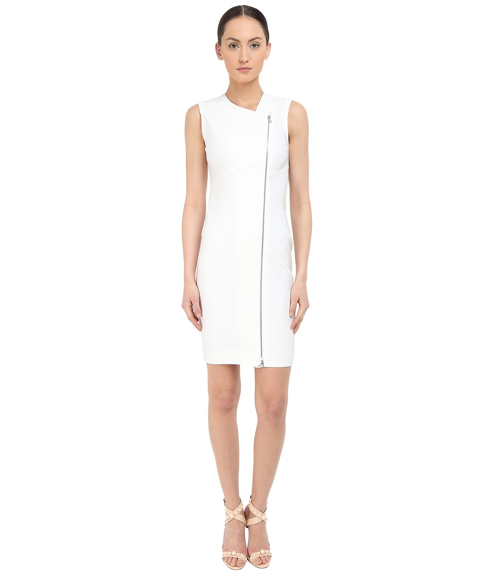 YIGAL AZROU L Zip Front Sleeveless Dress White Womens Dress