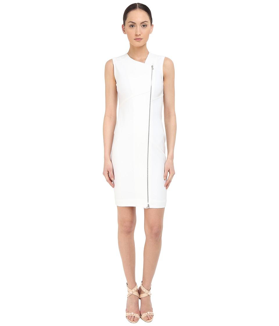 YIGAL AZROU L Zip Front Sleeveless Dress White Womens Dress