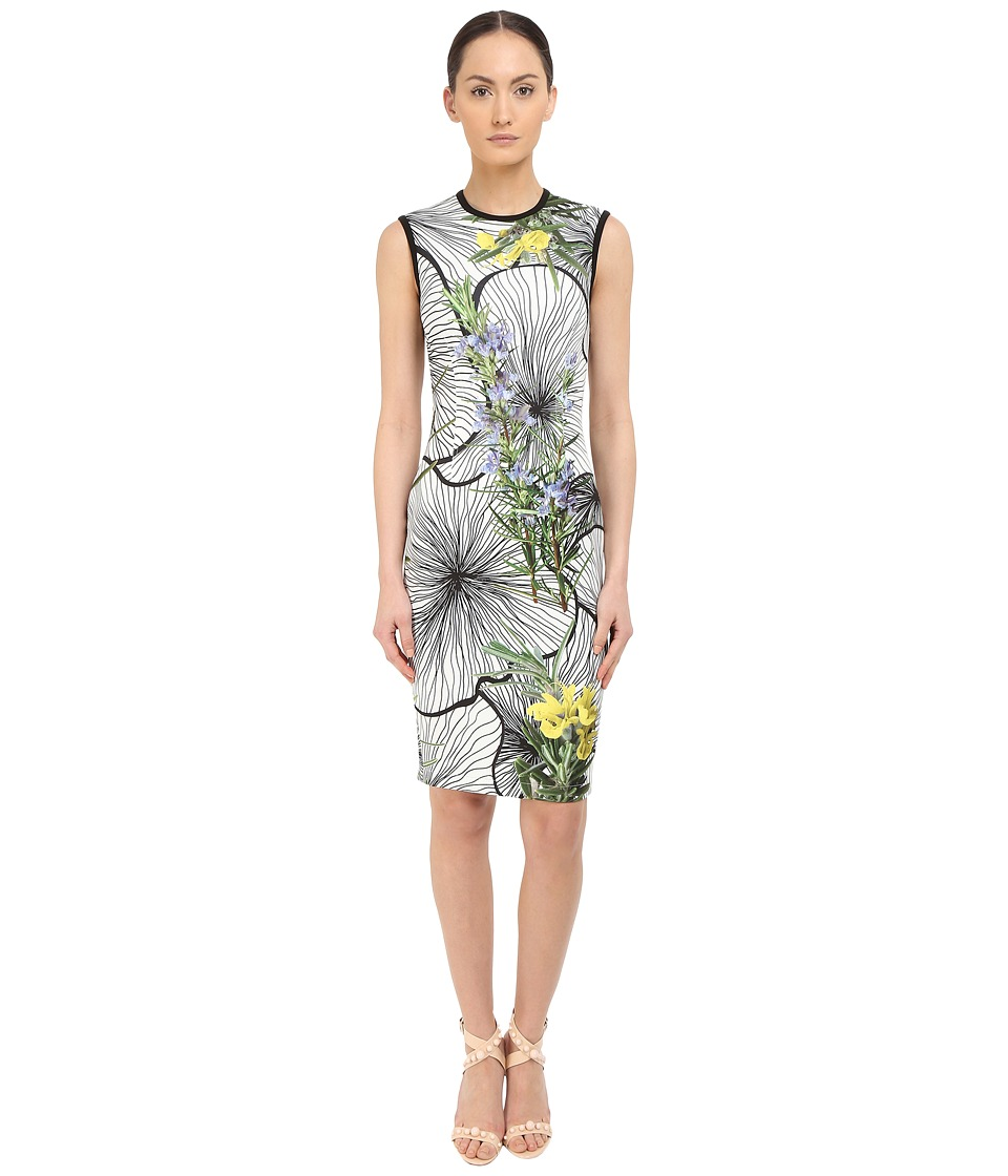 YIGAL AZROU L Sleeveless Floral Printed Dress Optic Multi Womens Dress