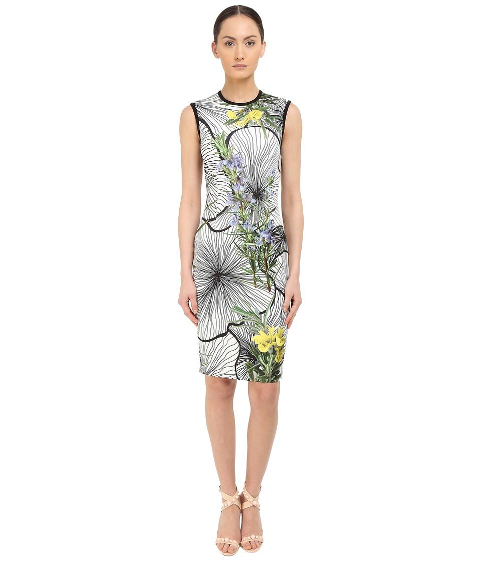 YIGAL AZROU L Sleeveless Floral Printed Dress Optic Multi Womens Dress