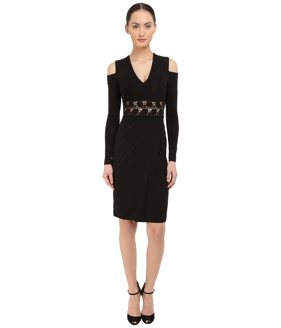 YIGAL AZROU L Cold Shoulder Long Sleeve V Neck Dress Black Womens Dress