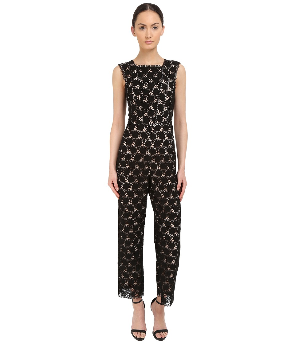 YIGAL AZROU L Circle Lace Square Neck Sleeveless Jumpsuit Black Womens Jumpsuit Rompers One Piece