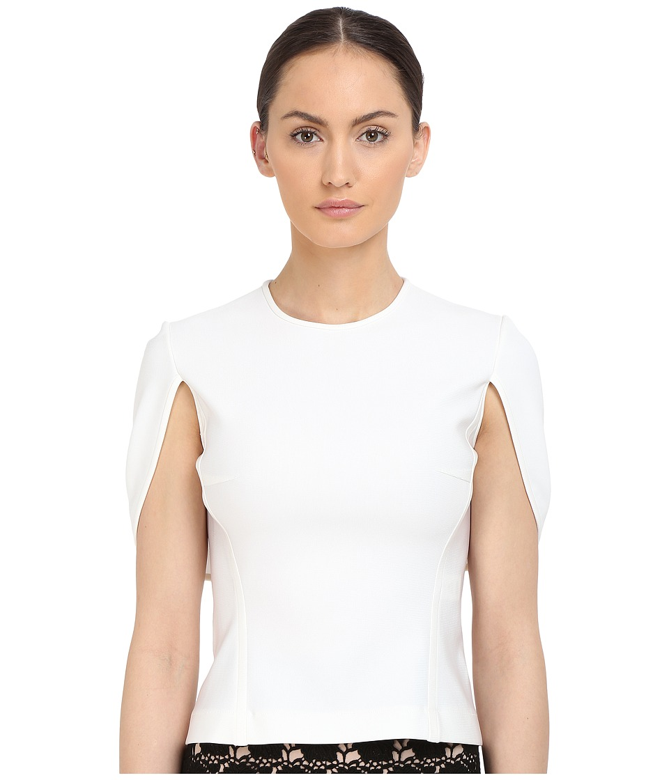 YIGAL AZROU L Mechanical Stretch Cape Top White Womens Short Sleeve Pullover