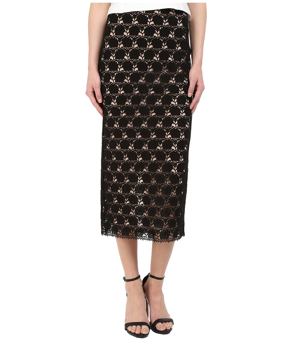 YIGAL AZROU L Circle Lace Midi Skirt Black Womens Skirt