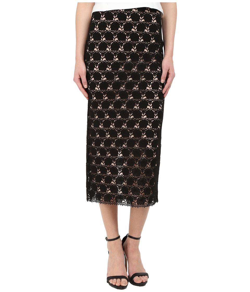 YIGAL AZROU L Circle Lace Midi Skirt Black Womens Skirt