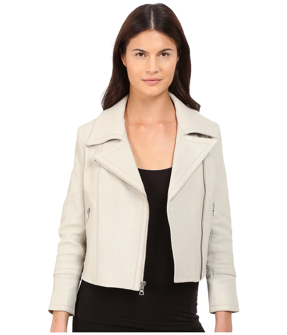 YIGAL AZROU L Classic Moto Zip Leather Jacket Light Grey Ice Womens Coat