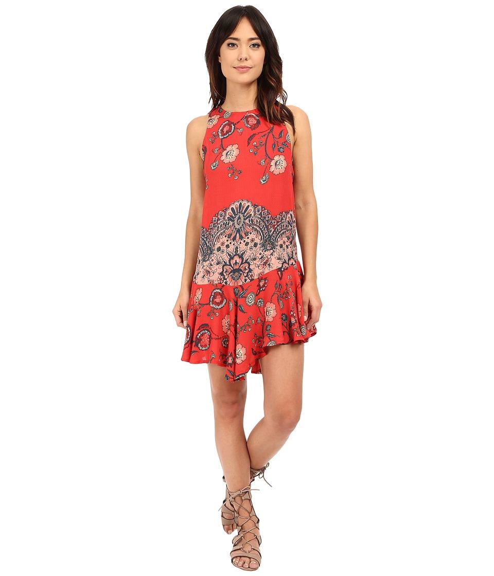 Free People Printed Dobby Dot Flouncy Hem Slip Vintage Red Combo Womens Dress