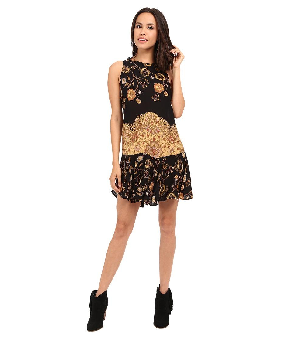 Free People Printed Dobby Dot Flouncy Hem Slip Black Combo Womens Dress