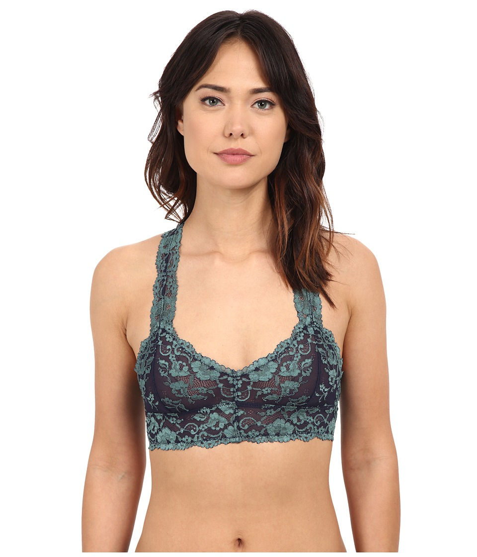Free People Cross Dye Galoon Lace Racerback Bra OB409418 Navy Seamist Combo Womens Bra