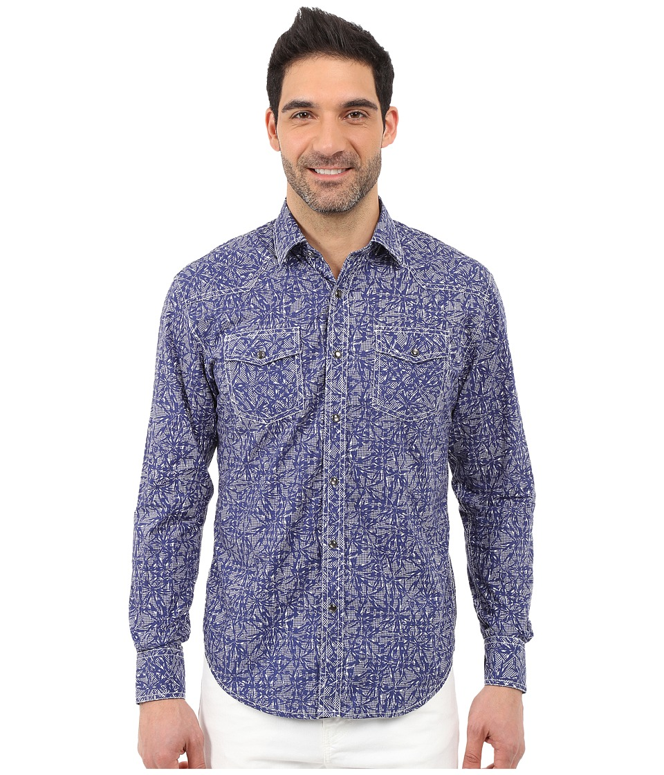 James Campbell Resin Long Sleeve Woven Blue Mens Long Sleeve Button Up