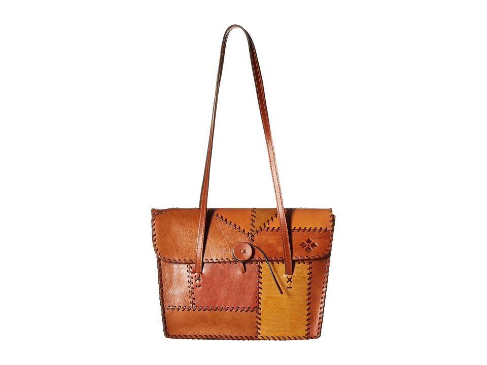 Patricia Nash Faito Flap Satchel Patchwork Tan Satchel Handbags