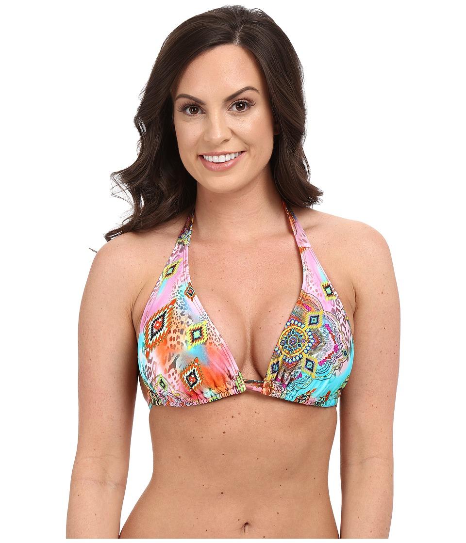 Luli Fama Boho Chic D/DD Cup Triangle Halter Top Multi Womens Swimwear
