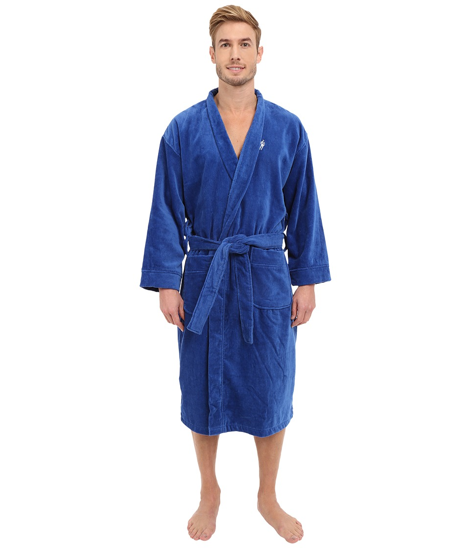 Jockey Terry Velour Solid Robe Blue Mens Robe