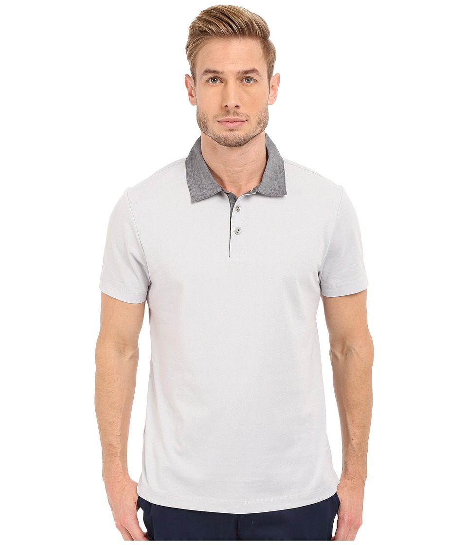 Perry Ellis Pique Polo with Woven Collar Bright White Mens Short Sleeve Knit
