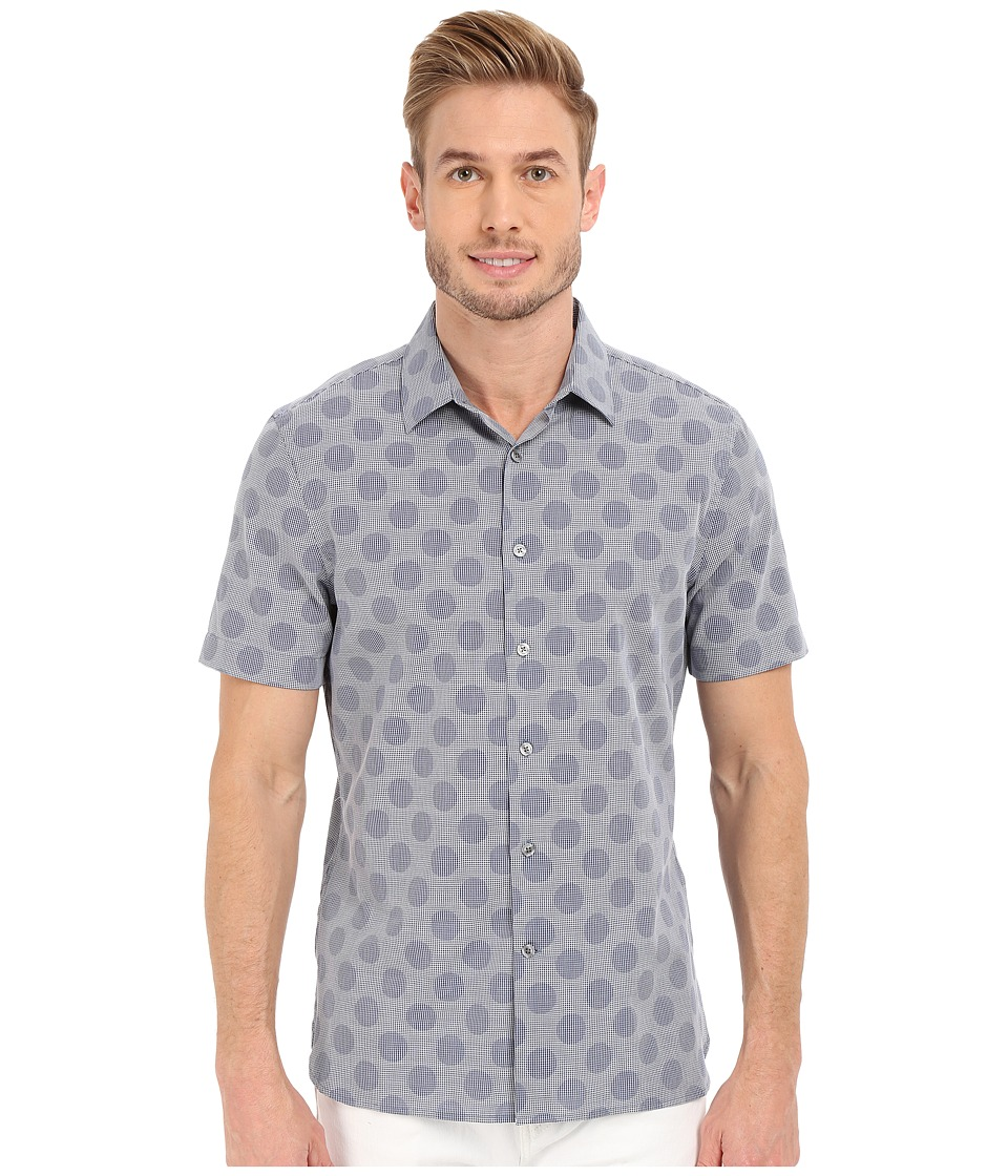 Perry Ellis Slim Fit Short Sleeve Large Dot Shirt Colony Blue Mens Clothing