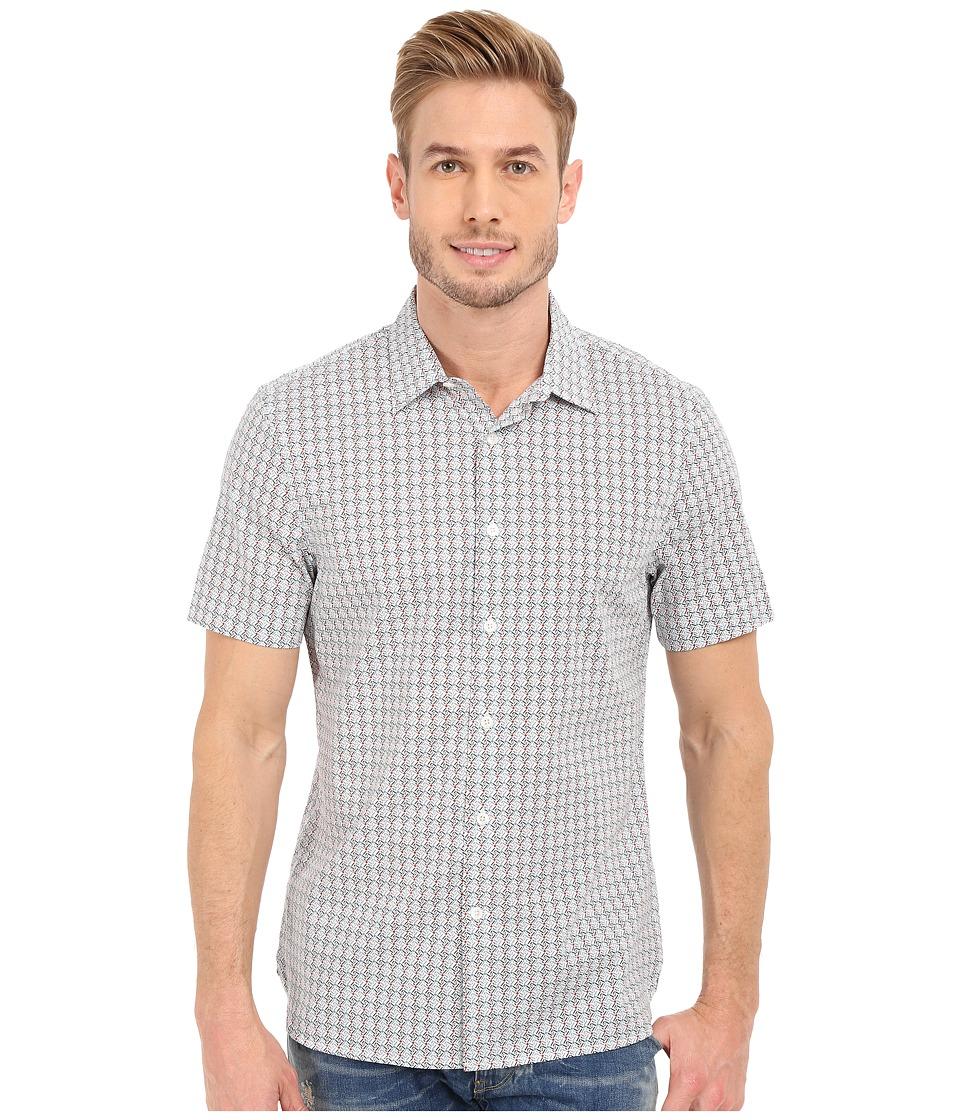 Perry Ellis Slim Fit Multicolor Mini Diamond Print Shirt Bright White Mens Short Sleeve Button Up