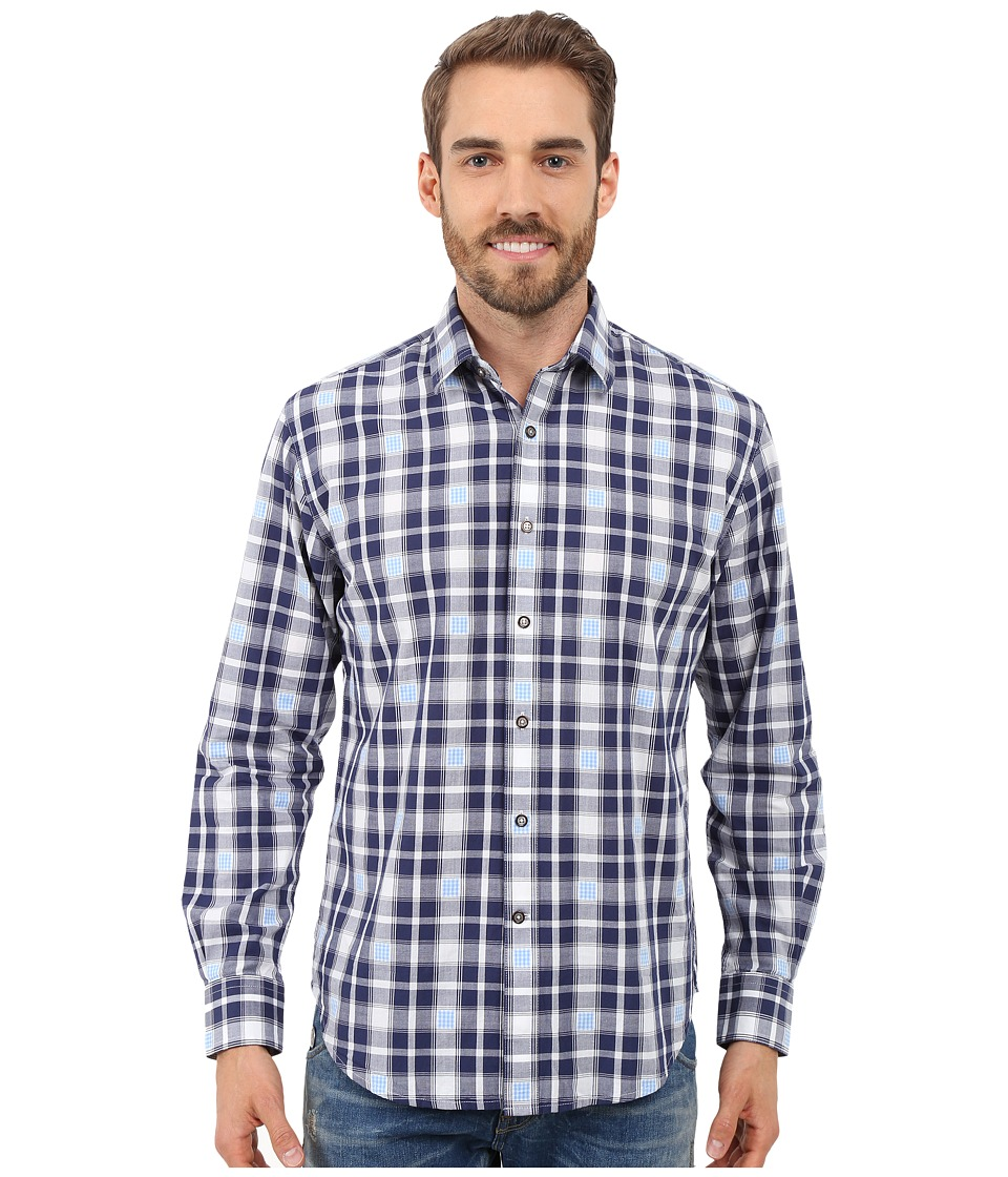 James Campbell Zond Long Sleeve Woven Shirt Navy Mens Long Sleeve Button Up