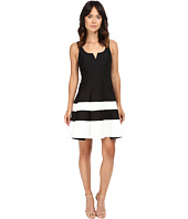 Halston Heritage - Round Neck Color Blocked Structured Dress