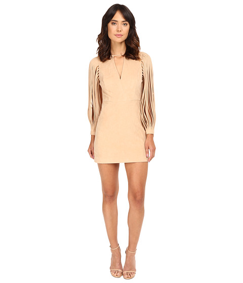 Halston Heritage Strappy Long Sleeve Ultrasuede Dress