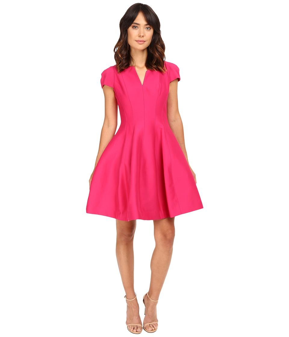 Halston Heritage Short Sleeve Notch Neck Dress with Tulip Skirt (Cerise) Women