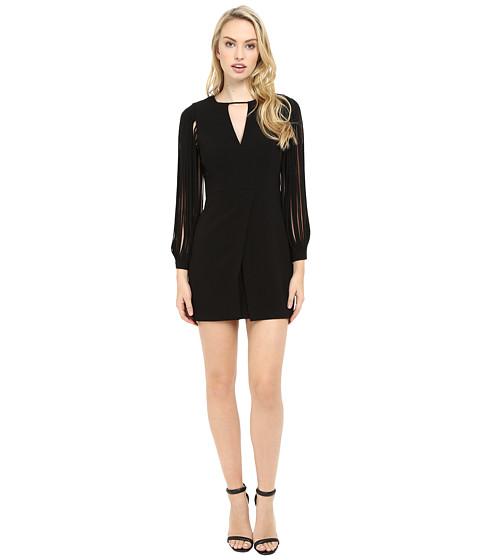 Halston Heritage Multistrap Long Sleeve Crepe Dress - Black