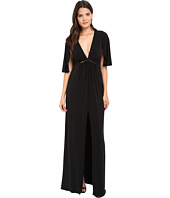 Halston Heritage - Short Flounce V-Neck Jersey Gown