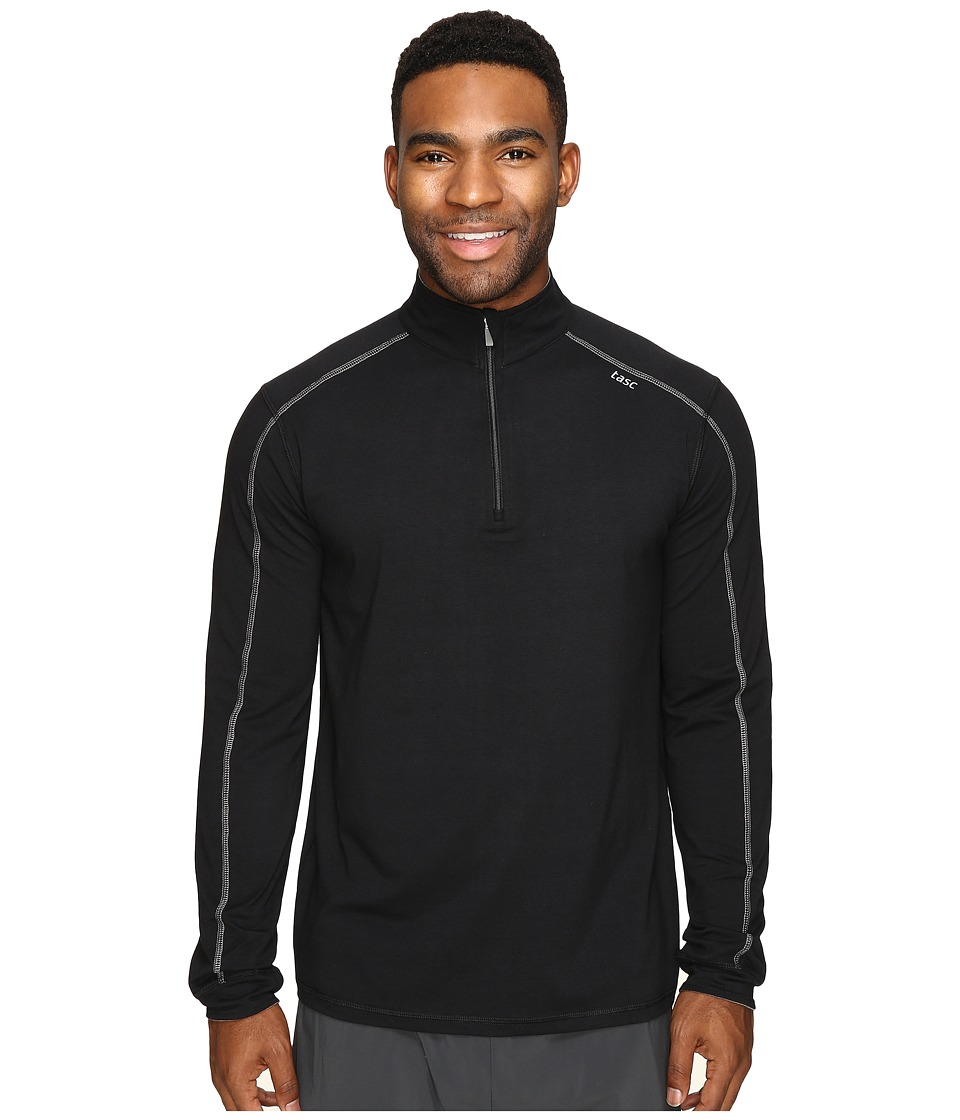 tasc Performance - Carrollton 1/4 Zip (Black/Heather Gray) Mens Long Sleeve Pullover