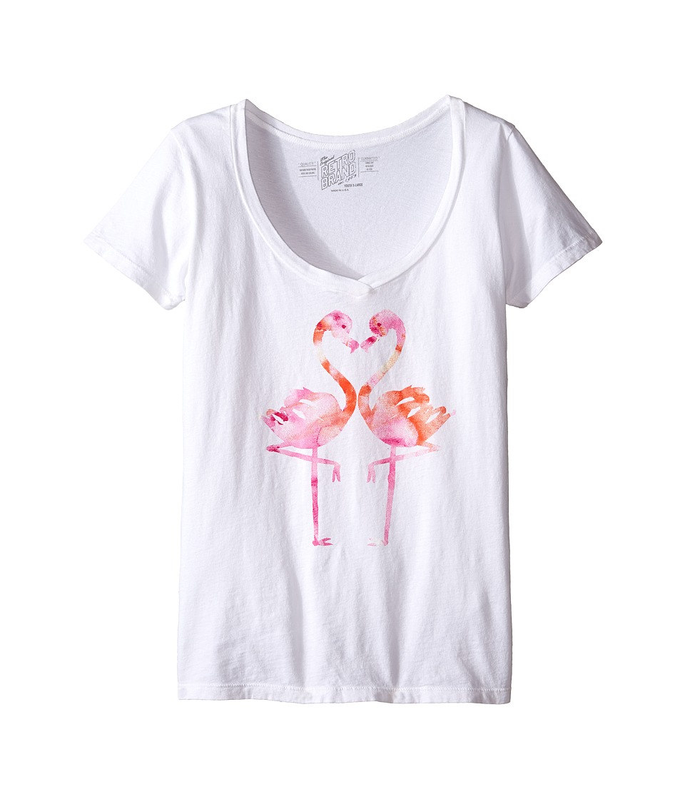 The Original Retro Brand Kids Flamingo V Neck Tee Little Kids/Big Kids White Girls T Shirt