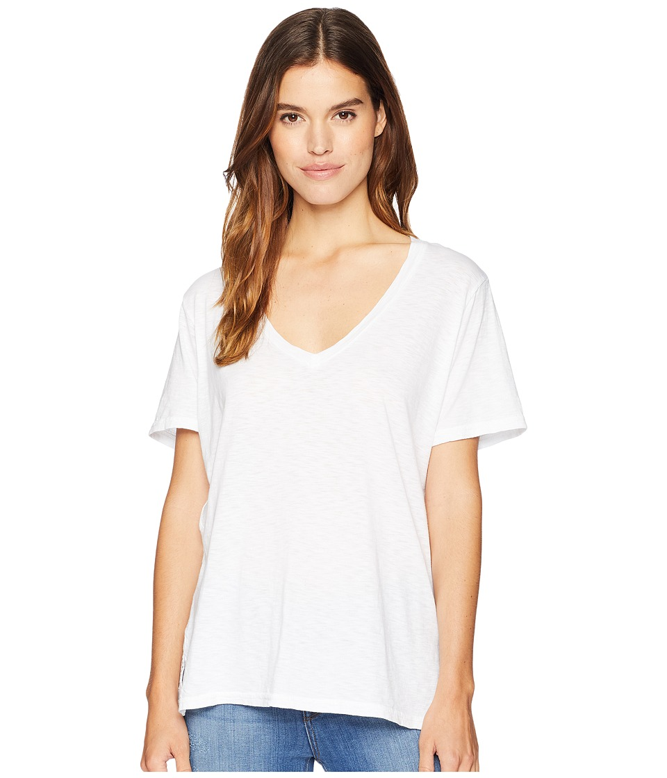 Michael Stars Supima Cotton Slub Short Sleeve V-Neck (White) Women