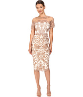 Marchesa Notte - Short Sleeve Metallic Embroidered Tulle Dress