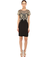 Marchesa Notte - Crepe Cocktail Sheath w/ Metallic
