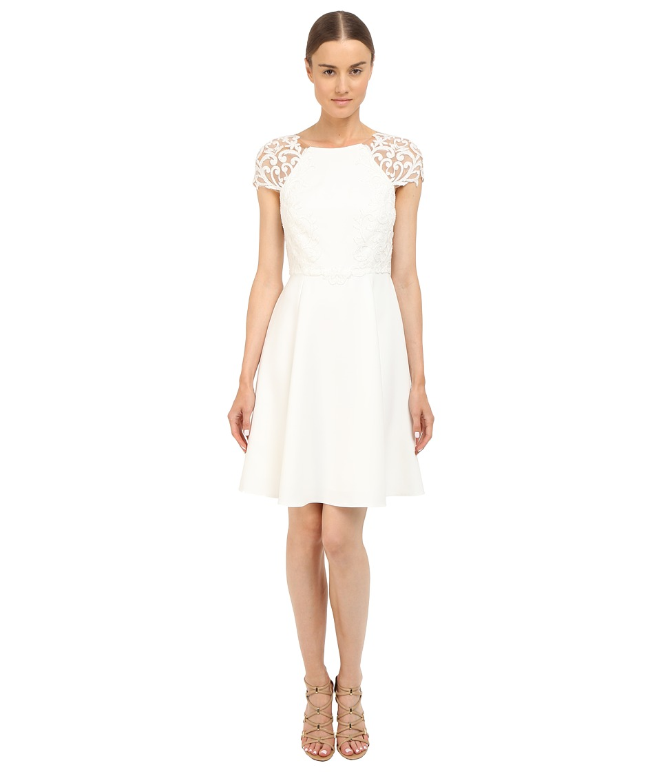 Marchesa Notte Short Sleeve Cocktail Dress w/ Embroidered Ivory Womens Dress